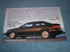 "1990 Audi Quattro Coupe Vintage 2pg Ad ""Once Again, Audi Introduces A Spoiler"""