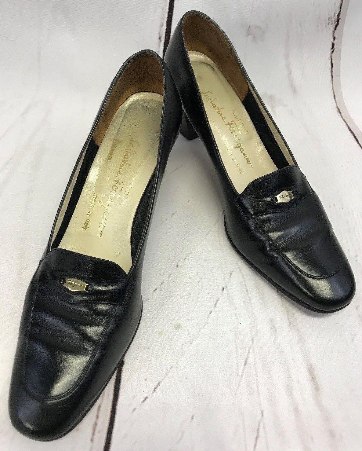 Salvatore Ferragamo Black Leather Heel  Pumps gold Logo Size 9 AAAA