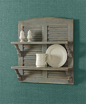 Country Primitive Double Shutter Shelf  in Aged Gray By Park Designs