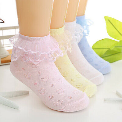 Toddlers Baby Girls Tutu Ankle Socks Kids Lace Bow Ruffle Princess Short Sock