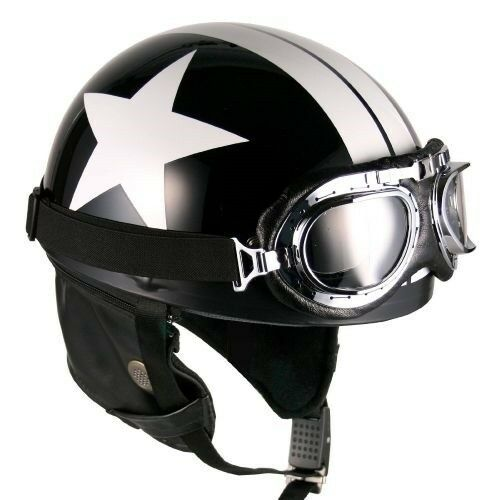 [ Black-White Star ] Goggle Helmets Half Face Vintage Motorcycle Motorbike