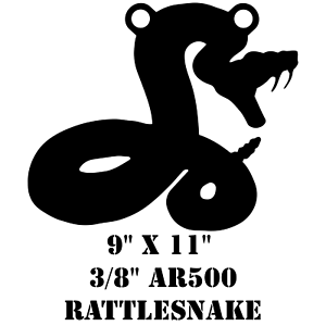 "AR500 Steel 9/"" x 11/"" x 3//8/"" Rattle Snake Target Hunting Practice Serpent Viper"