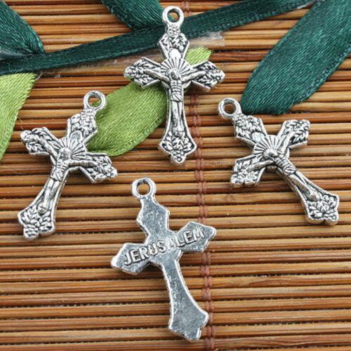 Alloy Metal Tibetan Silver Color crucifix Charms 15pcs EF0124