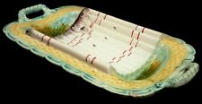 "Majolica asparagus Platter, tray, France, colorful, open handles, 16.5"", c1880"