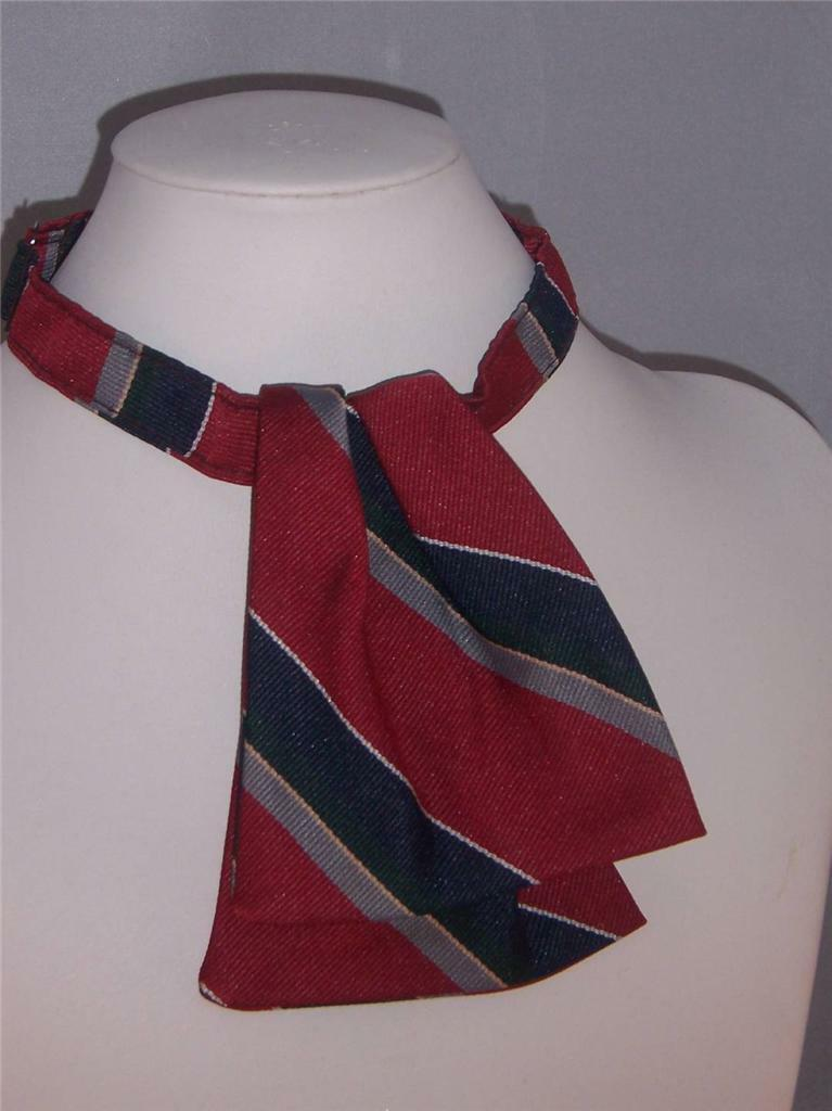 Womens Uniform Ascot Tie Red Blue and Gray Stripe Adjustable collar NEW