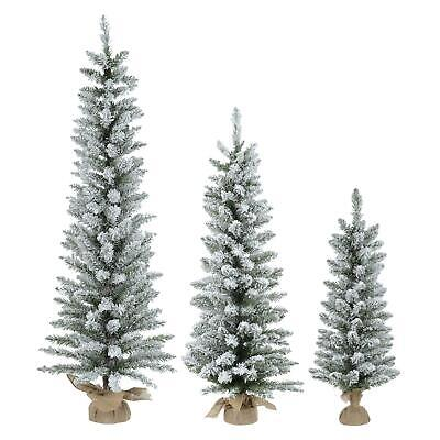 4//7ft Christmas Tree Slim Pencil Artificial Flocked Snow Green Pine Jute Base
