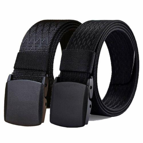 WYuZe Mens Nylon Web Belt No Metal Buckle Military Tactical Work Hiking Belt