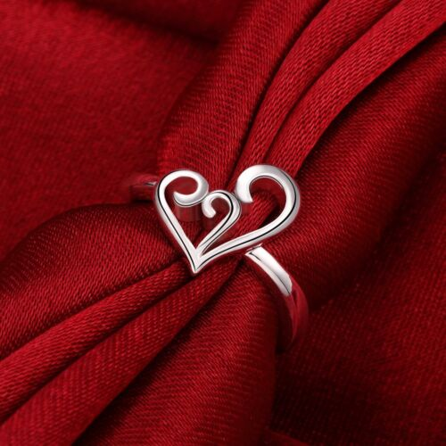 Elegant 925 Sterling Silver SF Filigree Heart Ring Size 7//8 R-A352 Woman Gift