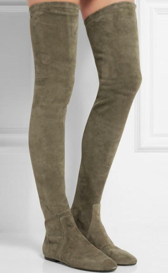 Womens Flat Heel Over Knee Thigh Thigh Thigh Hign Boots Strench Silm Leg Boots Suede Stylish 681063