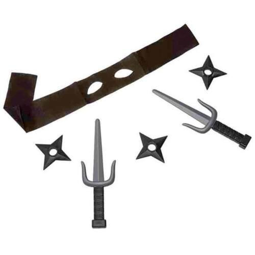 Wurfsternen und Messer 6tlg Ninja Verkleidung Set mit Augenmaske Waffen Set