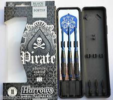 HARROWS PIRATE EBONITE COATED BLUE RINGED BRASS SOFT TIP DARTS 18g