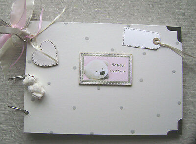 GUEST MEMORY SCRAPBOOK BABY FIRST YEAR PINK PERSONALISED A4 PHOTO ALBUM MULTI USE