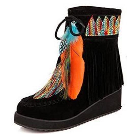 Indian Style Retro Fringe Stiefel Flock Chunky Feather damen damen damen Ankle Short Stiefel Tas 9922da