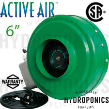 "Active Air 6 inch In-Line Fan 400 CFM Blower Inline Ventilation Hydrofarm 6"""