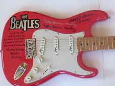 Beatles Signed Guitar Klaus Voormann Andy White w Lyrics Pattie Harrison PROOF !