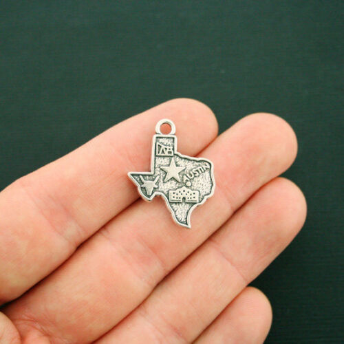 4 Texas State Charms Antique Silver Tone 2 Sided Incredible Detail SC6351