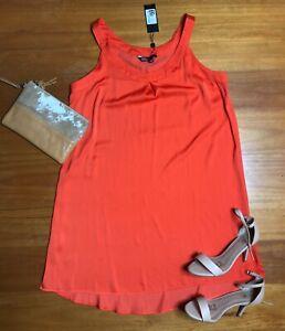 BNWT-Dannii-Minogue-Petites-Orange-Silky-Shift-Dress-Size-12-Sleeveless