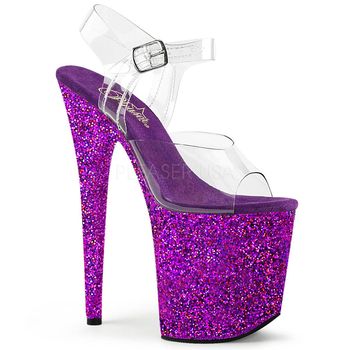 Sexy Purple Holographic Heel Glitter Platform 8