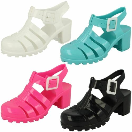 R26A Spot On H3R042 Girls Heeled Jelly Sandals with Buckle Fastening