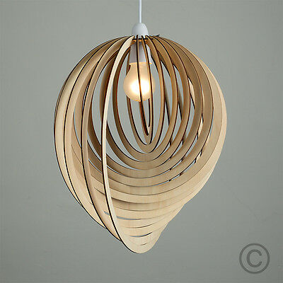 Met Goed Opvoeding Modern Wooden Droplet Ceiling Pendant Light Shade Lounge Lampshade Lighting Home