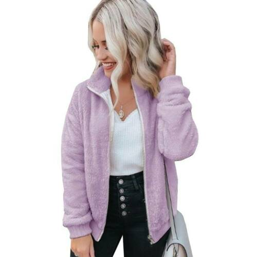 Women Winter Warm Fleece Jacket Coat Fluffy Fur Zip Up Cardigan Overcoat Outwear