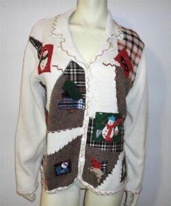 Snowman Holiday Cardigan Perle Plaid Xl Patch Stjerneblå Ny Juletrøje anzwZU1qx