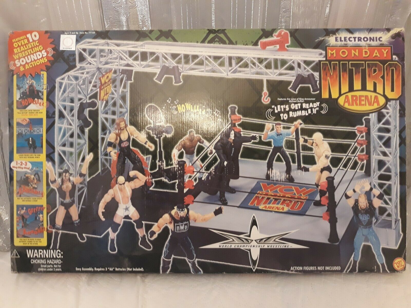 WCW NITRO RING PLAYSET WITH SOUNDS WWE WRESTLING