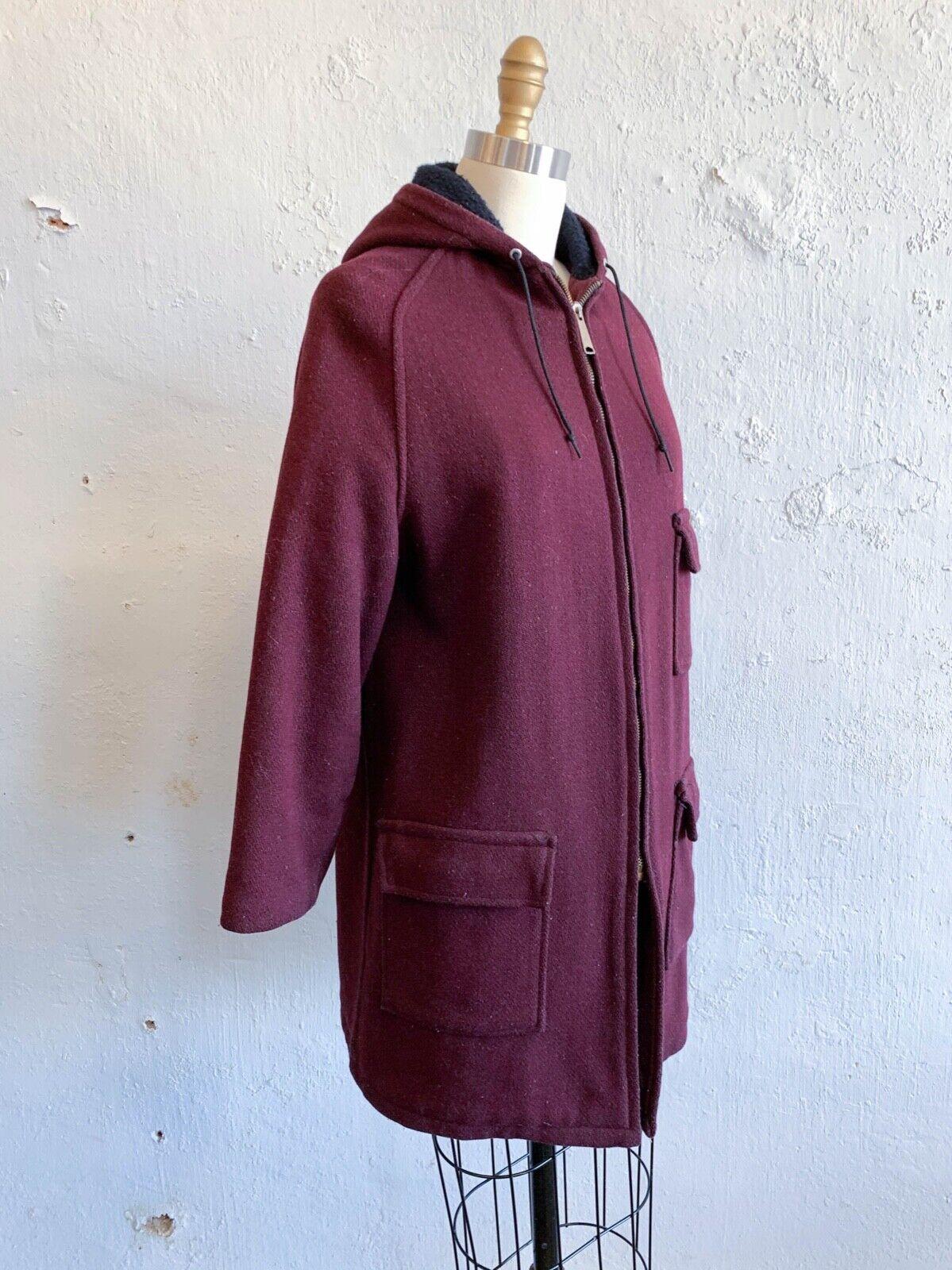 Vtg 60s Wool Jacket Full Zip Hooded Dark Red Fleece Lined Barb Coat Wms Small