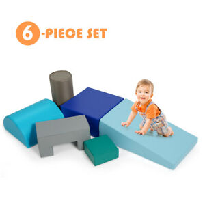 6 Piece Climb Crawl Play Set Indoor Kids Toddler Baby Safe Soft Foam Blocks Toys