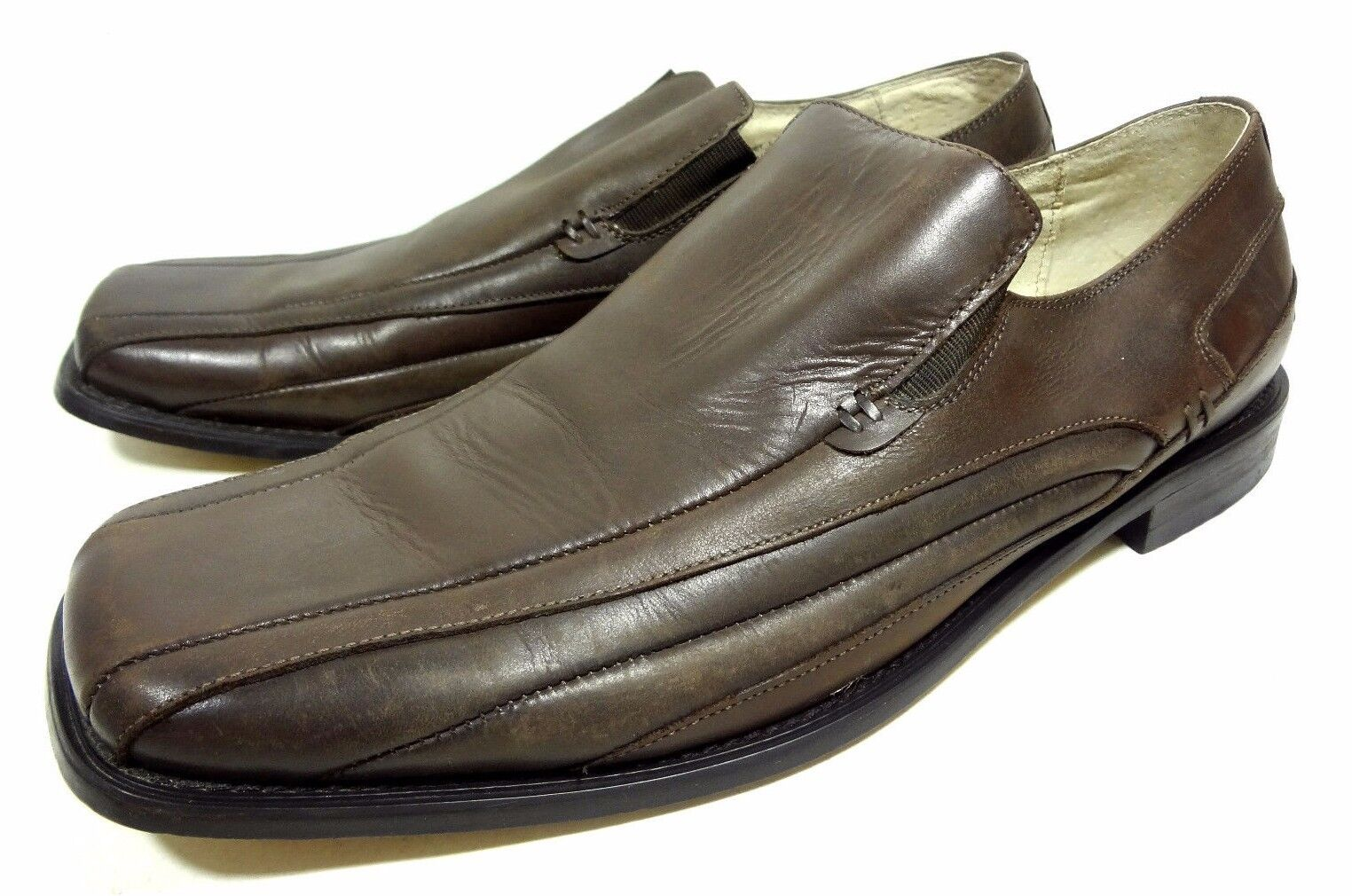 STACY ADAMS DARK BROWN LOAFERS LEATHER DRESS MENS SHOES SIZE 12 M