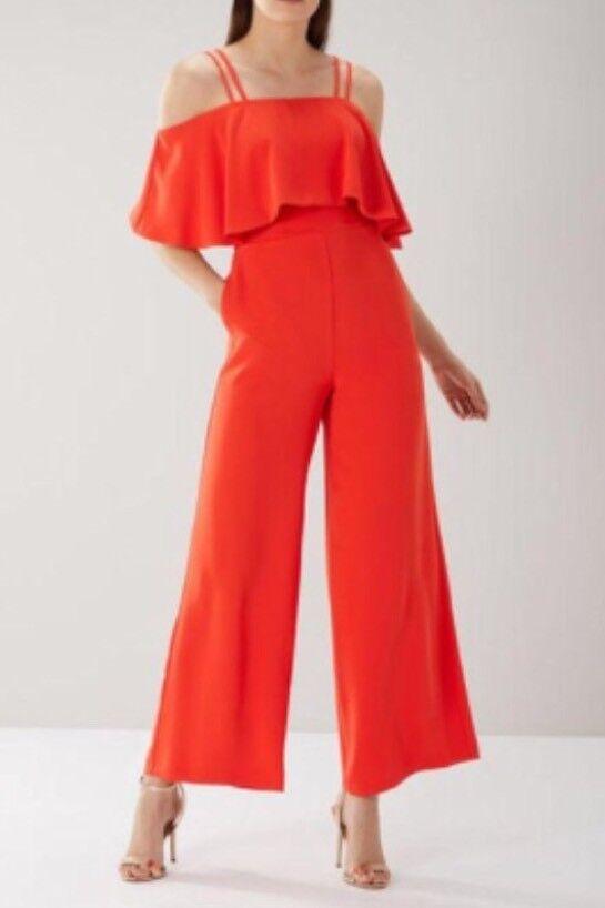 COAST @ NEXT SIZE 12 MARISSA TANGERINE REDDY orange FRILL STRAPPY JUMPSUIT BNWT