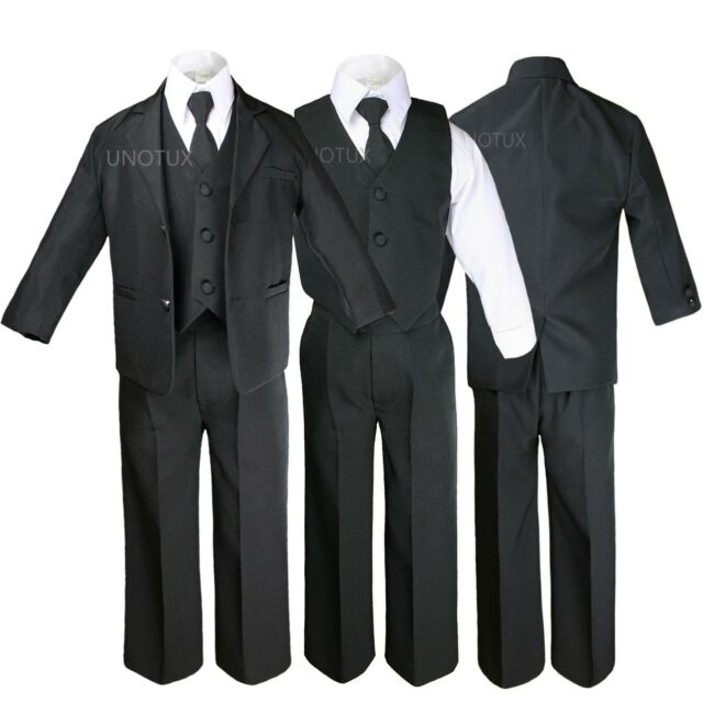 5pc Baby Infant Toddler Kid Teen Boy Wedding Formal Black Tuxedo Suit Size S-20