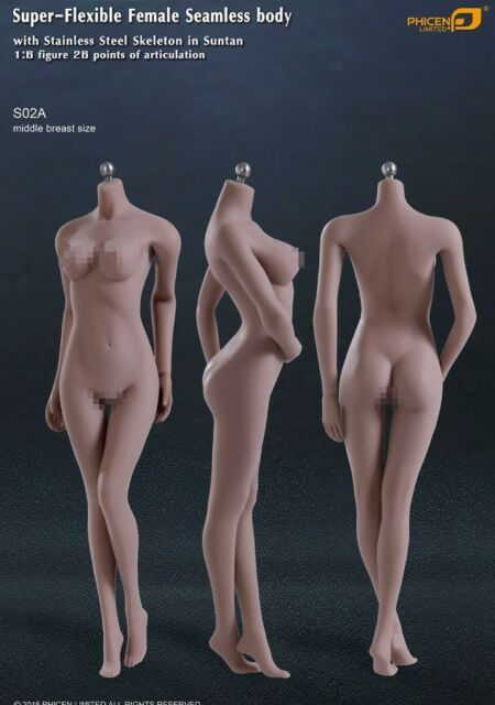 *New* Phicen 1/6 Female Seamless Body Stainless Steel Skeleton Suntan Mid Bust