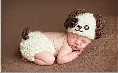 AAAA Newborn Baby Dog Infant Knitted Crochet Costume Photo Photography Prop Hot