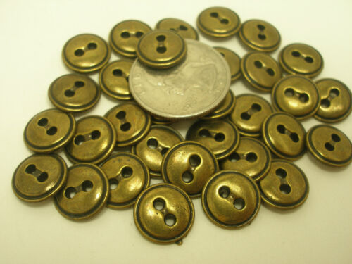 New 10 Antique Brass Finish Metal Buttons size 1//2  7//16  5//8 11//16 13//16 ab15