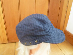 MONSOON ACCESSORIZE NAVY BLUE BLACK CHECKED STRAP PEAKED HAT CAP BAKER BOY NEW