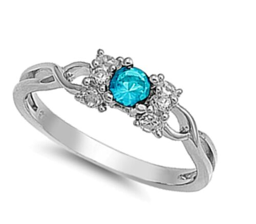 Brilliant Round Birthstone Infinity Celtic Genuine Sterling Silver Infinity Ring