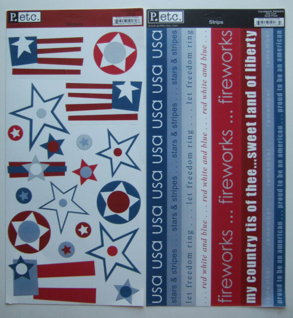 ~AMERICANA STICKERS & STRIPS~ (Lot Of 2) Pebbles Inc P etc; ~4th OF JULY~ USA