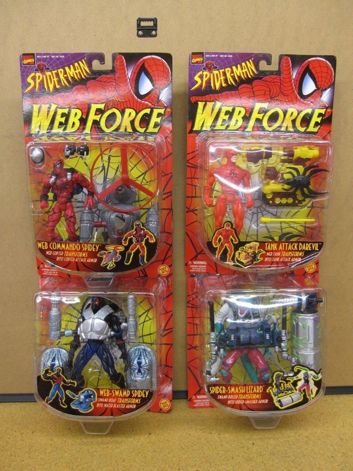 Toy Biz Web Force - Commando Spidey, Daredevil, Lizard & Swamp Spidey set of 4
