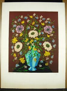 Odette-Caly-Vase-and-Flowers-034-Quintet-034-Artist-039-s-Proof-Print-Original-c1970