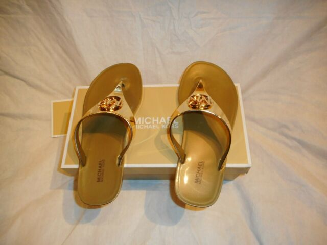 N/W/B Michael Kors Lillie Jelly Thong Sandals Gold 8m  7M Sold seperately