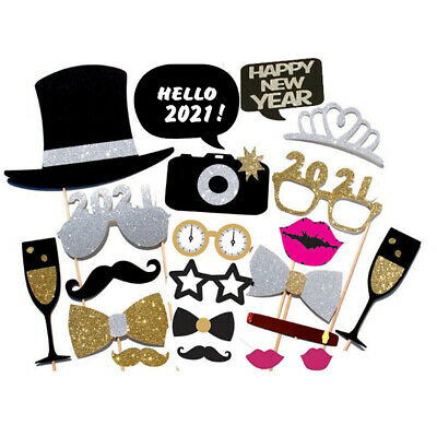 21PCS 2021 New Year's Eve Party Card Masks Photo Booth Props Supply Decorations | eBay