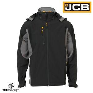 JCB-Stretton-Mens-Black-Softshell-Breathable-Water-Repellent-Hooded-Jacket-Coat