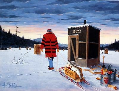 Les Kouba Darkhouse Finale Stretched Canvas Ice Spearing Print