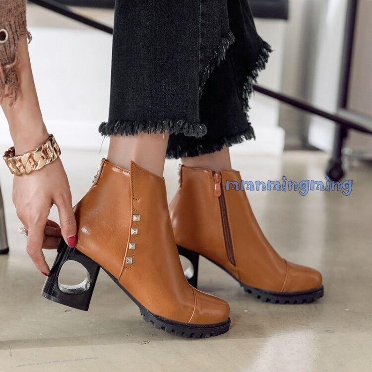 Retro Block Heels shoes Women Rivet Zip Round Toe Ankle Boots Winter Plus size