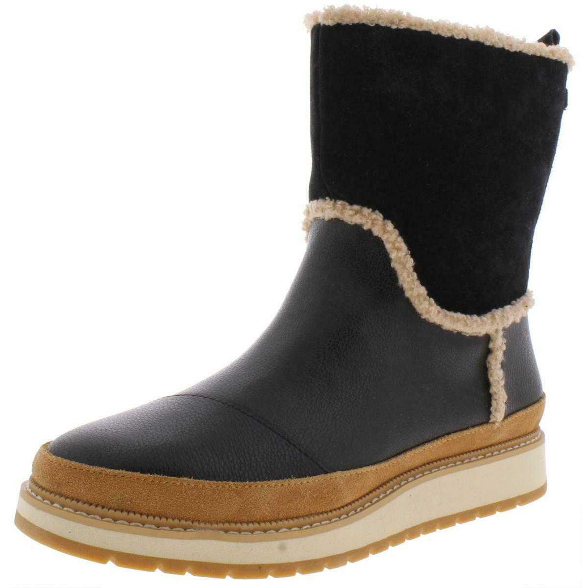 Toms Womens Makenna Black Leather Casual Boots Shoes 6.5 Medium (B,M) BHFO 2216