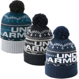 8b015c0e018 UNDER ARMOUR BEANIE HAT MENS RETRO POM BOBBLE BEANIE 3.0 GOLF SKI ...