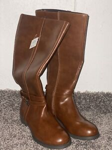 Hunters-Bay-Women-Brown-Boots-High-Top-Leather-Size-6-5-W-New
