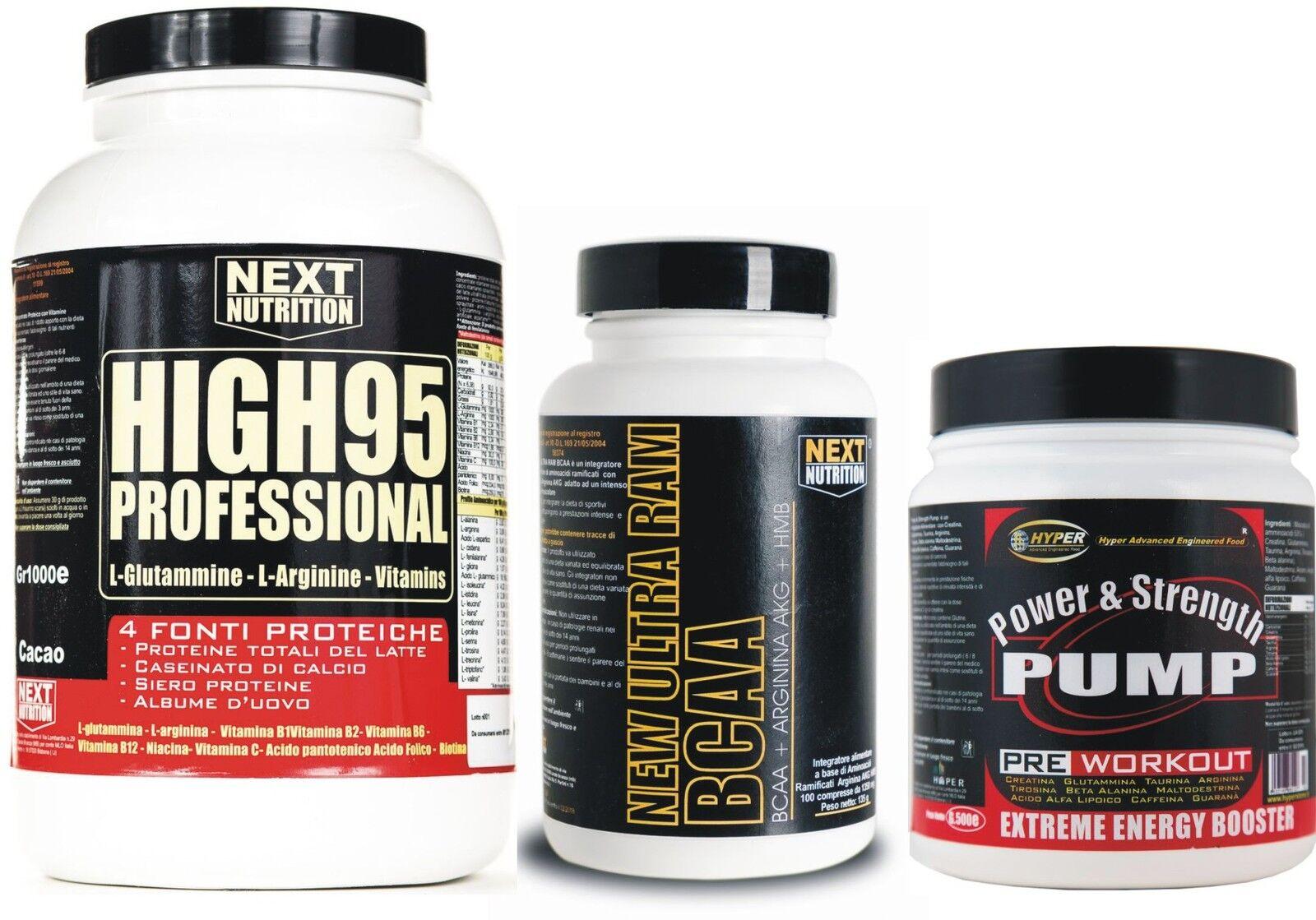 Kit Massa Proteine 90% Kg1 Vaniglia  Aminoacidi BCAA 100cp Pre Workout gr500