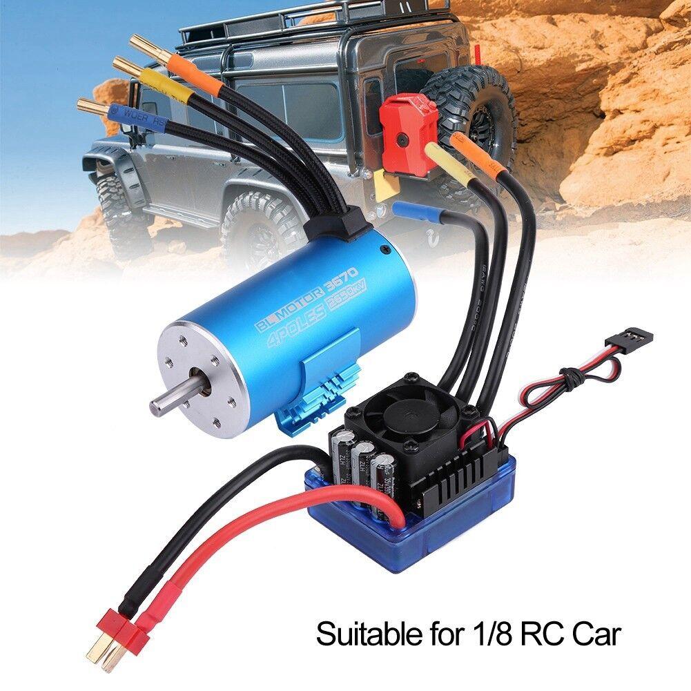 3670 2650kv Sensorless Brushless Motore 4 poli + 120a ESC Set per 1/8 RC Auto